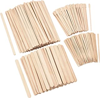 600 Pieces Wax Applicator Sticks Wood Waxing Craft Sticks Spatulas Applicators for Hair Removal Eyebrow Body, 4 Sizes