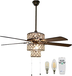 "River of Goods 52"" Crystal and Silver Metal Shade Ceiling Fan with Remote Control and LED Bulbs Included"
