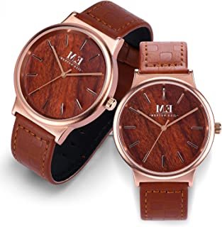 Couple Watch Set for Men Women, Classic His and Hers Pair, Stainless Steel Waterproof Fashion Casual Wrist Watches, With Analog Display Rose Gold Dial Leather Band