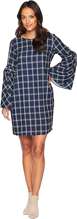 Windowpane Shift Dress with Tie String Sleeves