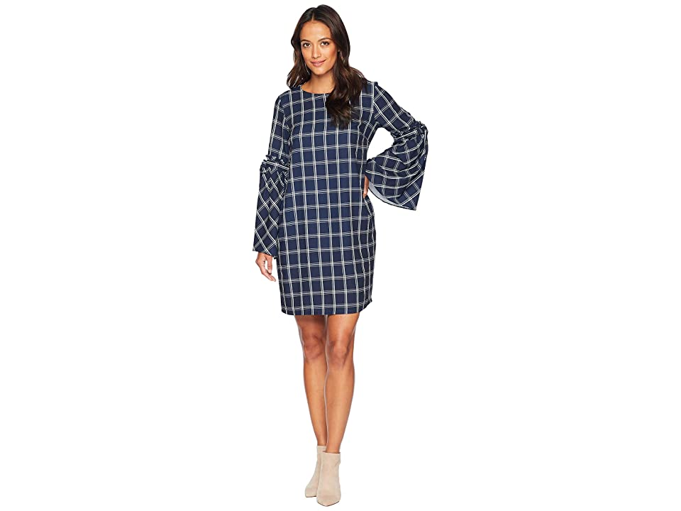 eci Windowpane Shift Dress with Tie String Sleeves (Navy/Ivory) Women