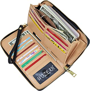 WOZEAH Women's RFID Blocking PU Leather Zip Around Wallet...