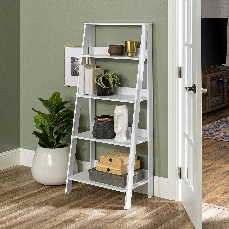 Walker Edison Sophia Modern 4 Shelf W Ladder Popular popular Inch Bookcase 55 High order