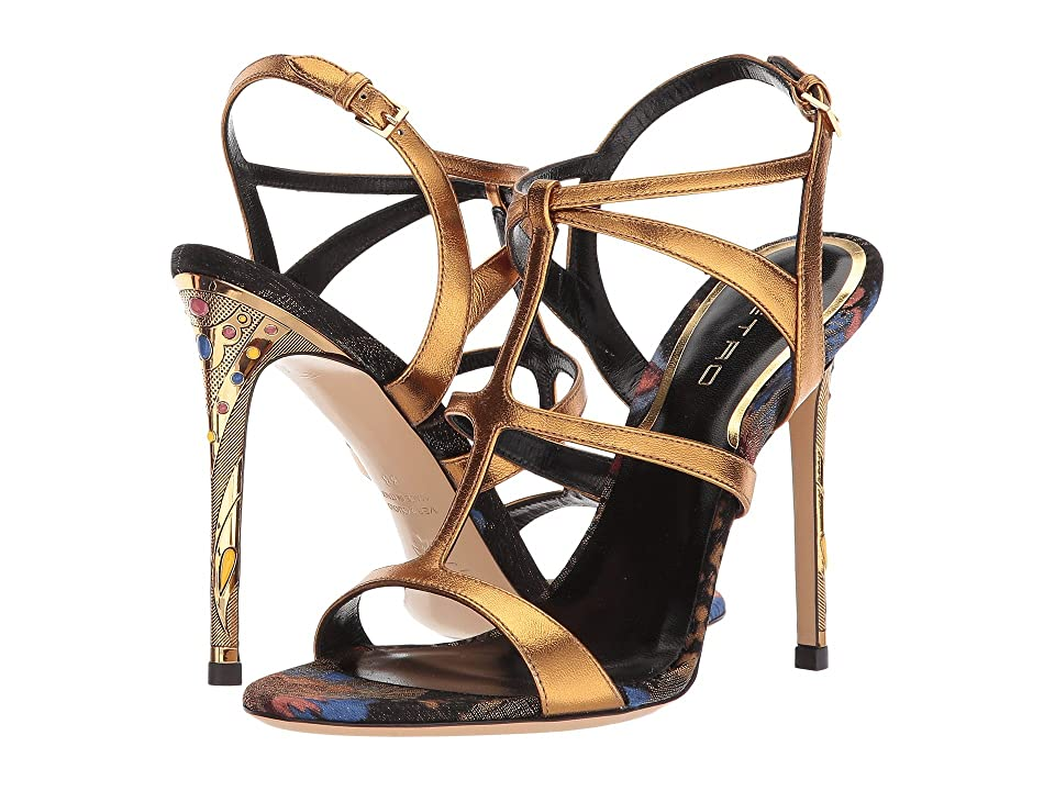 Etro Metallic Strappy Heel (Gold) Women
