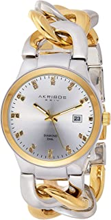 Akribos XXIV Swiss Quartz Diamond Watch- Beveled Bezel - Sunburst Dial - Date Display- Luminous Hands - Jewelry Chain Brac...