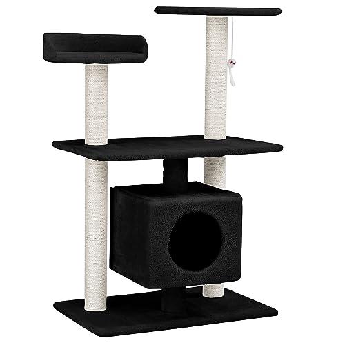 [en.casa] chats arbre à chat [env. 60 x 40 x 95 cm][noir] paniers douillets / plateformes d'observation / sisal / avec de nombreuses possibilités de jouer et de câliner