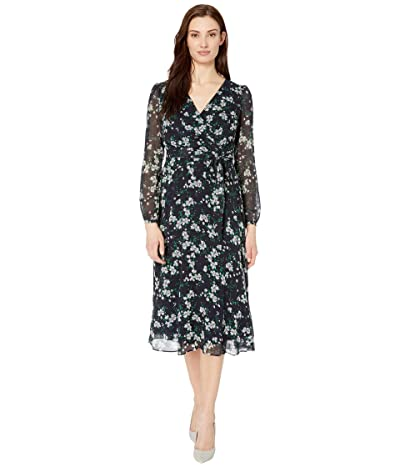 Calvin Klein Belted A-Line Midi Dress with Ruffle Arms (Caper) Women