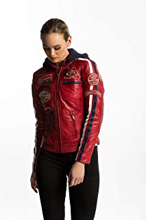 Urban GoCo Chaqueta Moto Mujer de Cuero Leather '58 LADIES', Cazadora Moto de Piel de Cordero, Armadura Removible para Esp...