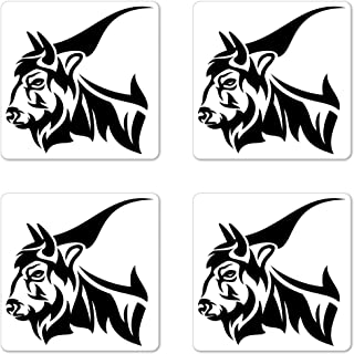 Lunarable Bison Coaster Set of 4, Horned Animal Yak Mammal with Monochrome Design Wildlife Strength Illustration, Square Hardboard Gloss Coasters for Drinks, Black and White