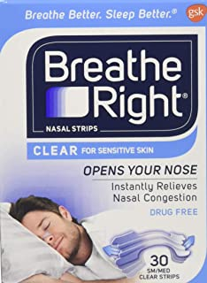 Breathe Right Nasal Strips Clear Small/Medium 30 Each (Pack of 2)
