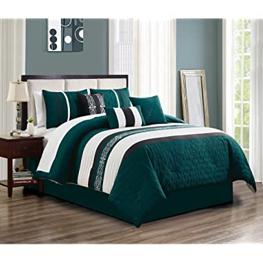Peri 7 pieces Luxury Queen Size Comforter set, Enjoy the Beautiful design in Teal blue, White & Black with the luxurious comfort Feeling. The set Includes Comforter, Skirt, Throw Pillows, Pillow Shams