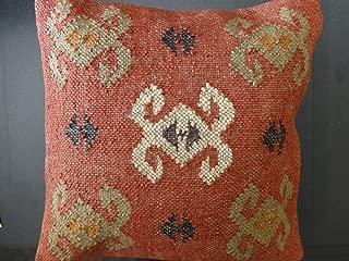 Trade Star Handwoven Kilim Pillow Covers 18x18, Indian Outdoor Cushions, Sofa Throw Pillow Cases, Decorative Boho Jute Pillow Shams