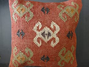 Trade Star Handwoven Kilim Pillow Covers 18x18, Indian Outdoor Cushions, Sofa Throw Pillow Cases, Decorative Boho Jute Pillow Shams