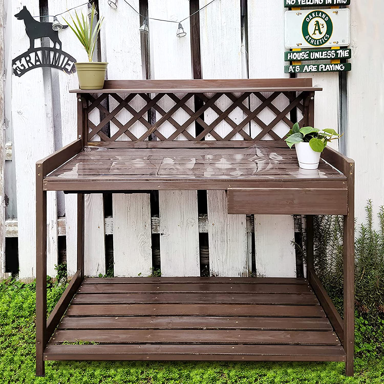 Outdoor Potting Bench Wooden Garden w Max 69% OFF Drawer Workstation Table Store