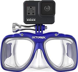 OCTOMASK - قناع الغوص مع حامل لجميع كاميرات جو برو هيرو للغطس والتنفس، والتمتع بحرية