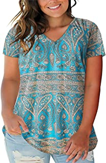 ROSRISS Women's Plus Size Floral Tops V Neck T-Shirts Short Sleeve Casual Tees