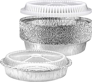 NYHI Round Aluminum Foil Pans 9-Inch   Disposable Tin Foil Pans with Clear Plastic Lids   Heavy-Duty Food Container Pie Di...