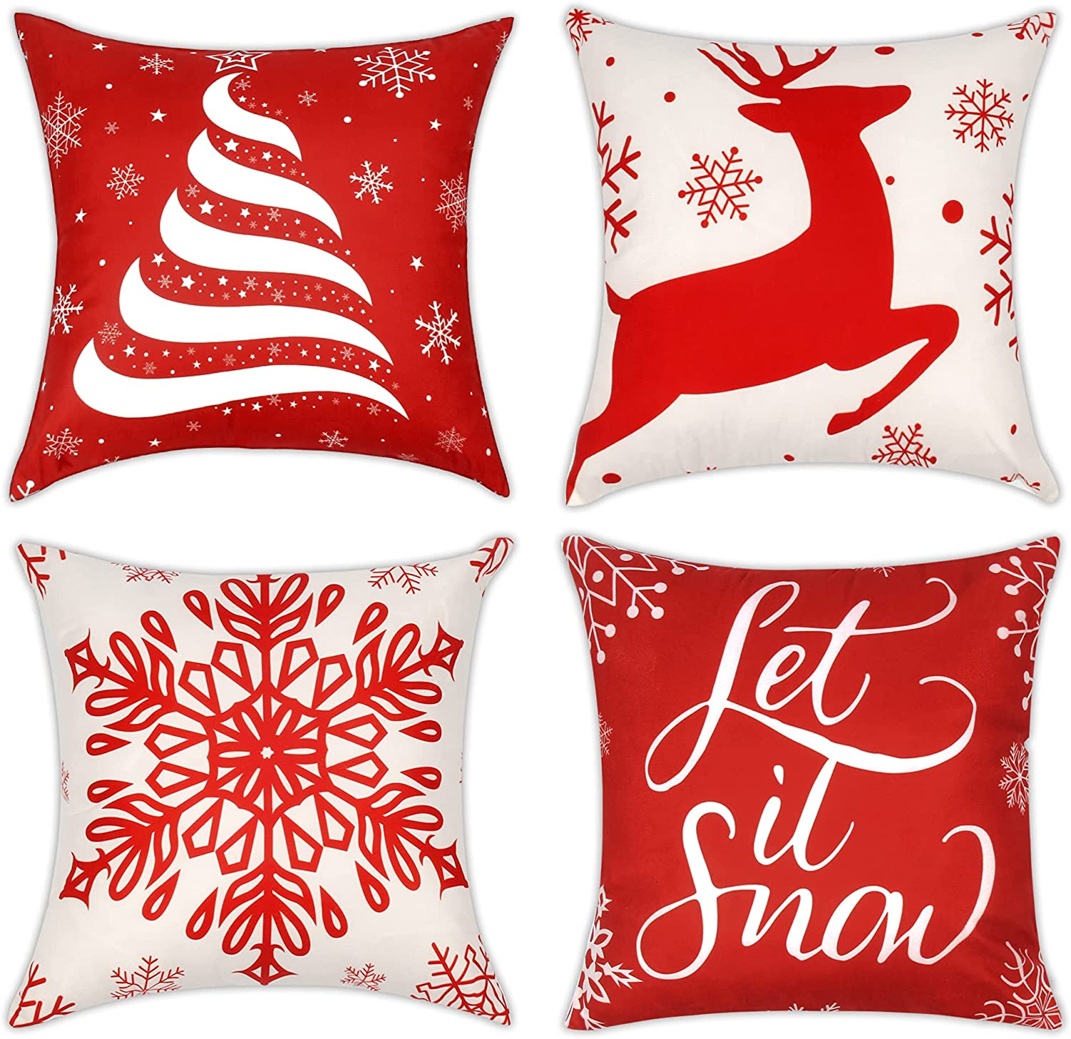 ReeQuo Christmas Throw Pillow Covers 18x18 Inch Set of 4, Farmhouse Holiday Pillow Cases for Sofa Couch Home Decoration Xmas Pillow Covers