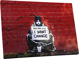 Pingo World 0826QVZWMMA Banksy I Want Change Gallery Wrapped Canvas Print (30