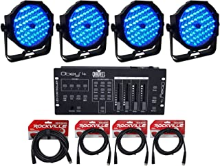(4) American DJ Mega Go Par64 Plus Battery Powered Wash Lights+Controller+Cables