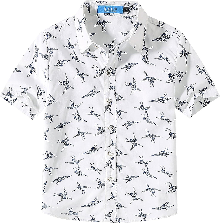 SSLR Camisa hawaiana de manga corta para niño, con grúa ...