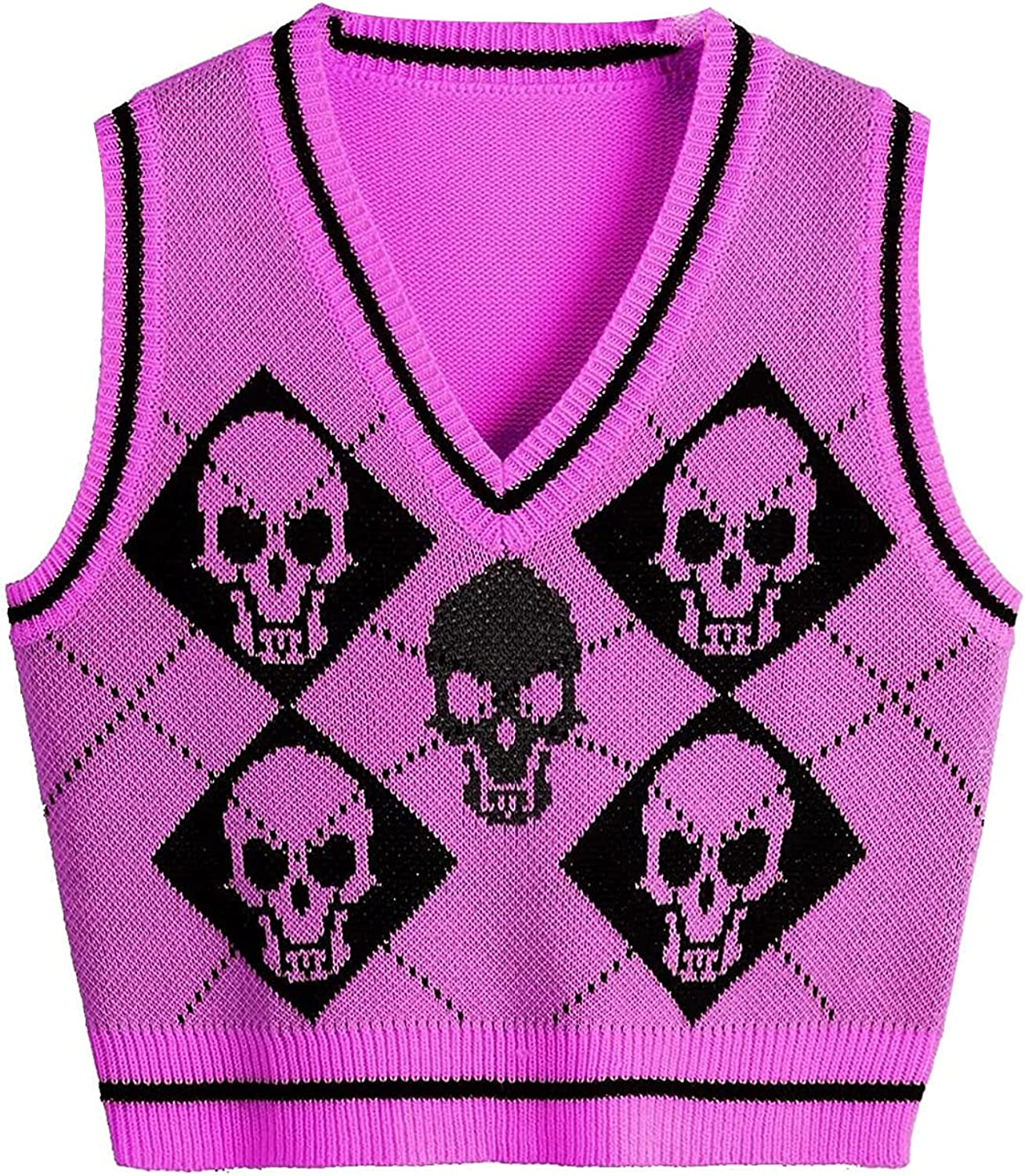 Women Fashion Knitted Vest, Sleeveless Halloween Casual Top Shirt Sweater for Daily Streetwear Fall Autumn Winter