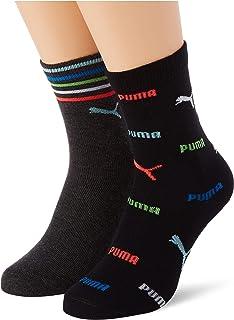 PUMA Children's Logo All-Over-Print Socks uniseks-kind Puma Children's Logo All-Over-Print Sokken 2 Pack (2-Pack)