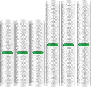 Vacuum Sealer Bags Rolls (Fits Inside Machine) - 6 Pack (20cm x 300cm& 28cmx 300cm) Heavy Duty Vacuum Food Storage Saver...