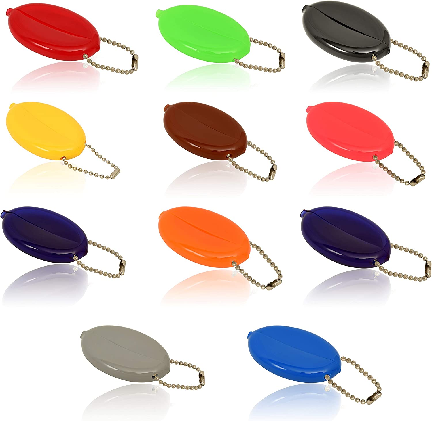 Oval Rubber Coin Purse Change Holder Made in U.S.A. For Men/Woman With Chain By Nabob (5 Pack Mixed Colors)