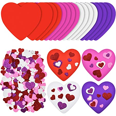 3650+pcs Colorful Love Heart Stickers 20pcs Heart Wooden Stamps Pads HOWAF Valentine Love Heart Stamps Stickers for Kids Craft DIY Envelopes Cards Scrapbooking Valentine Party Favors Gift Rewards