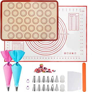 Tapis de cuisson en silicone 22 pièces avec douilles en pièces - Tapis de cuisson antidérapant en acier inoxydable - Buses...