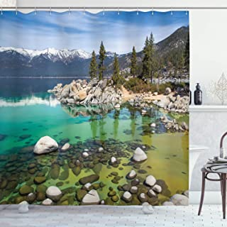 Ambesonne United States Landscape Pictures California Collection, Sierra Nevada Lake Tahoe Rocky Mountains , Polyester Fabric Bathroom Shower Curtain Set with Hooks, Blue Green White