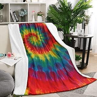 Unicorns Farting Tie Dye Rainbow Art Wallpaper Summer Thick Blanket Couch Warm Throw Blanket Flannel Fleece Blanket, 59 X 79 Inch