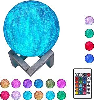 Lámpara de Luna 3D Luz Noctura de Luna Estrellada 15CM 16 Colores 4 Modos de Luz Lampara Luna Recargable con Control Remoto y Táctil Soporte Cable USB