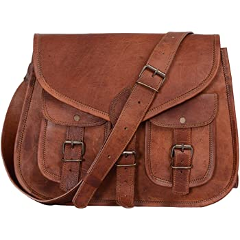KPL 14 Inch Leather crossbody bags Purse Women Shoulder Bag Satchel Ladies Tote Travel Purse full grain Leather (Tan Brown)