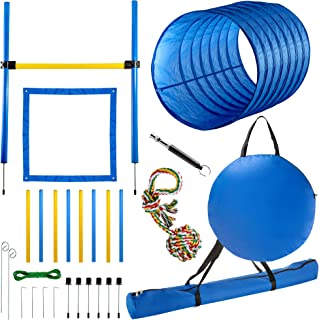 CHEERING PET Dog Agility Equipment - 28 Piece Dog Obstacle Course for Training and Interactive Play Includes Tunnel, Adjustable Hurdles, Poles, Whistle, Rope Toy with Carrying Case
