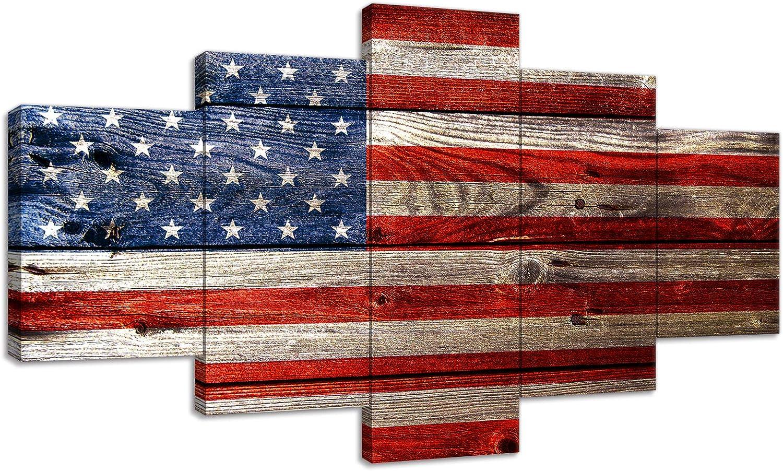 Urttiiyy Vintage American Flag Wall Art US on National uniform free shipping New York Mall Stripes Stars USA