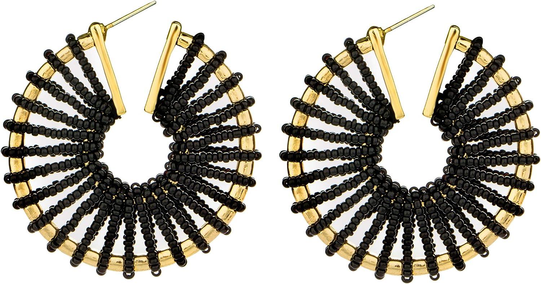 REVOLIA Beaded Earrings for Women Girls Statement Hoop Earrings Geometric Handmade Colorful Bohemian Earrings