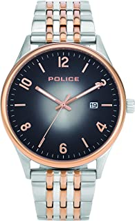 Police Eminent Men Analogue Watch With Gun Dial And Silver And Rose Gold Stainless Steel Bracelet - PL 14925JSTR-61M