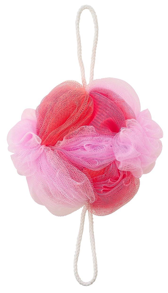 雰囲気洗う弾性マーナ ボディースポンジ 「背中も洗えるシャボンボール フラワー」 ピンク B588P