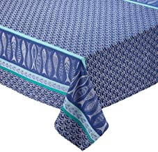 Design Imports Blue Santorini Cotton Table Linens, Tablecloth 52-Inch by 52-Inch Square, Santorini Jacquard
