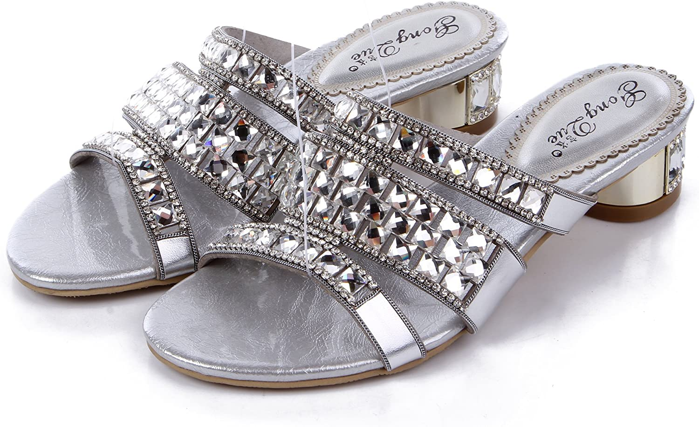 Unicoratha Women's Crystal Rhinestone Low Heel Slip on Evening Party Sheepskin Sandals shoes