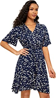 Milumia Women's Summer Button up Beach Bohemian Knee Length Pockets Floral Cami Dress