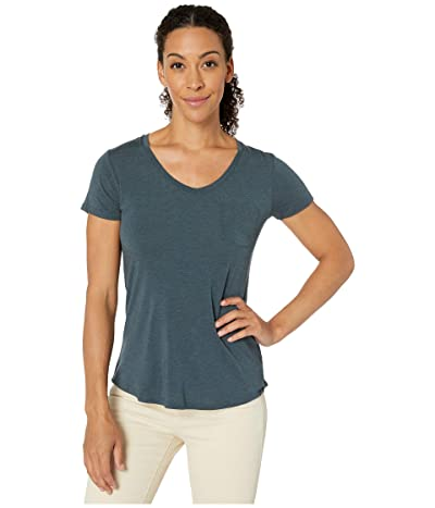 Prana Foundation Short Sleeve V-Neck Top (Grey Blue Heather) Women
