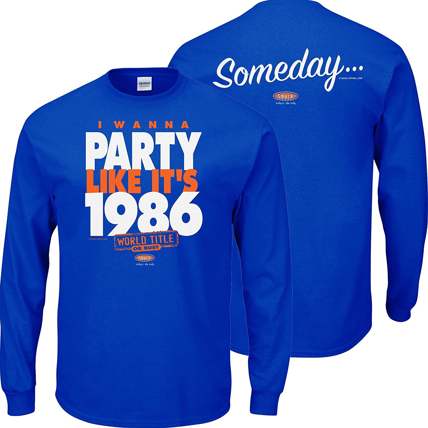 Smack Apparel New York Baseball Fans Royal Blue T Shirt Sm-5X I Wanna Party Like Its 1986