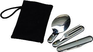 comprar comparacion Couverts pliables en acier inoxydable avec étui Cuillère Fourchette Couteau Décapsuleur et Ouvre-bo&i...