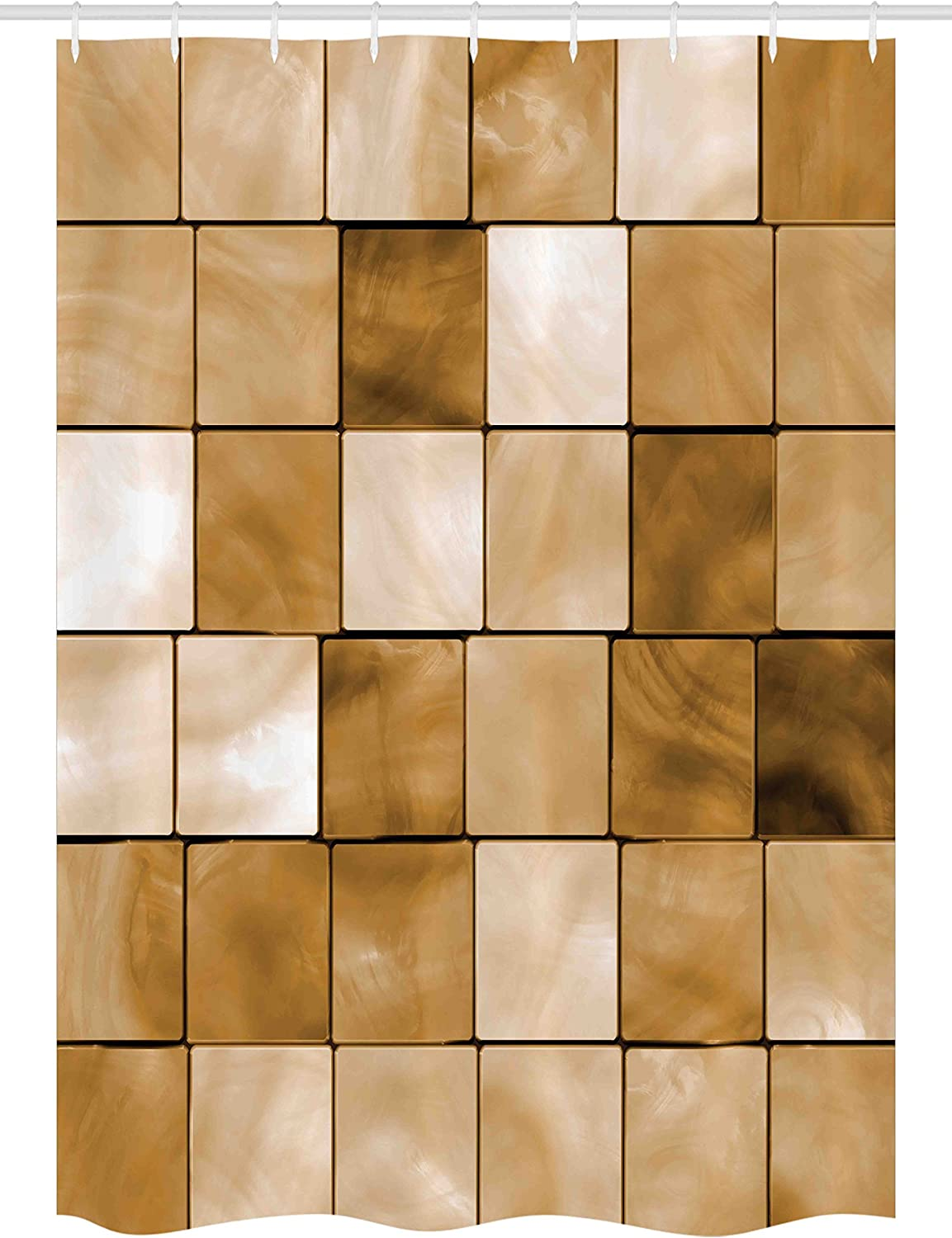 Ambesonne Beige Stall Shower Curtain Brand Cheap Sale Venue Inexpensive Tiles Squ Cubes Faded Wood