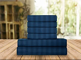 Elegant Comfort Luxury Soft Bed Sheets Dobby Stripe 1500 Thread Count Percale Egyptian Quality Softness Wrinkle and Fade R...