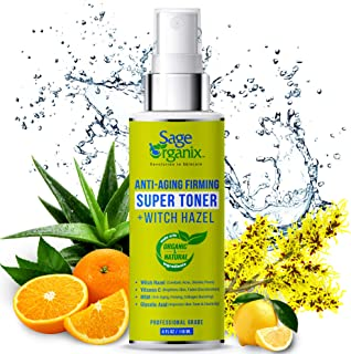 Sage Organix Anti Aging Witch Hazel Toner with Vitamin C, Organic & Natural Facial Toner to Reduce Wrinkles...