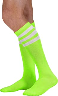 Neon Nation Colored Knee High Tube Socks w/White Stripes